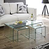 Geo-Glass Coffee Table with 2 Nest Tables
