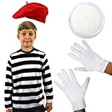 0207VPO86N4 Child's French MIME Fancy Dress Costume School Curriculum Book Week Set...