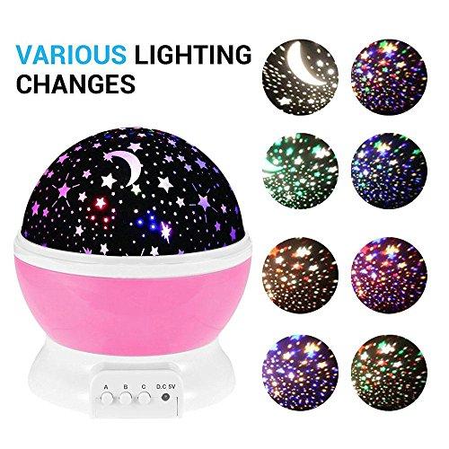 Pawaca Veilleuse 4 Couleurs pour projecteur étoilé avec éclairage Rotatif et Options d'éclairage de Nuit Romantique Câble USB alimenté par Piles pour Enfants et Adultes