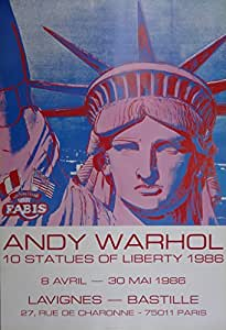 10 Statues of Liberty - Affiche originale vintage d'Andy Warhol 1986 #Collector