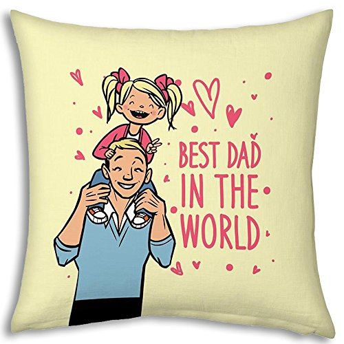 Fathers Day Gift Beige Best Dad In The World 12x12 Filled Designer Cushion