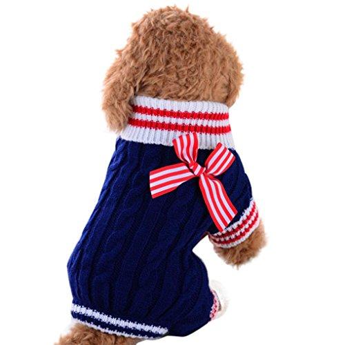 SOMESUN Sweater Welpe Haustier Hund Pullover Hund Kleidung kleine Hunde Winter Pullover Strampler (45cm Büste, Blau)
