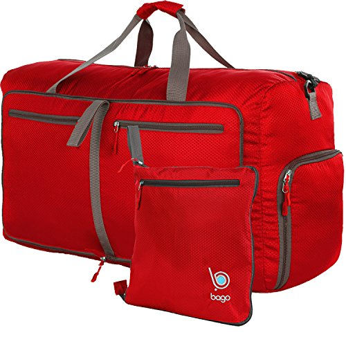 9c23bd42a4b4 Bago Duffle Bag For Travel Luggage Gym Sport Camping - Lightweight Foldable  Into Itself Duffel (Red