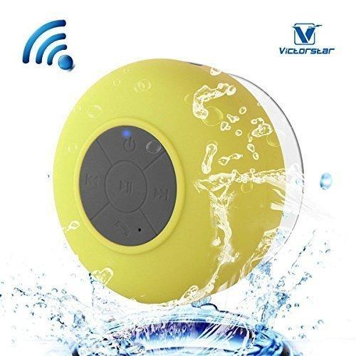 Wasserdicht Bluetooth 3.0 Dusche Lautsprecher, Freihändig Portable Freisprecheinrichtung mit Eingebautem Mikrofon, 6h Spielzeit, Steuertasten und Engagierten Saugnapf für Duschen, Badezimmer, Pool, Boot, Auto, Strand, & Außenbereich (Wasser-beweis-ipod-player)