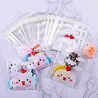200pcs Bolsas para Chuches para Niño Animal Pollito Encantador Bolsitas Caramelos Plástico Autoadhesivas Bolsas Galletas para