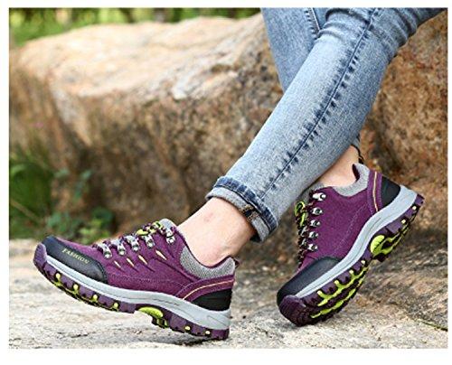 Scarpe da trekking da donna da donna Scarpe da trekking basse Scarpe da arrampicata per il tempo libero Scarpe da viaggio anti-scivolo Impermeabile Air Tech Scarpe da ginnastica fitness Viola