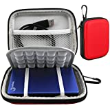 Lacdo(TM) Waterproof Hard EVA Shockproof Carrying Case Pouch Bag for Seagate Backup Plus Slim 2TB 1TB 500G / for Seagate Expansion / Seagate Slimline / Seagate 1 TB 500GB / Samsung M3 Slimline 2 TB / Toshiba Canvio Basics / Canvio Connect / USB 3.0 2.5 inch Portable External Hard Drive HDD (Red)