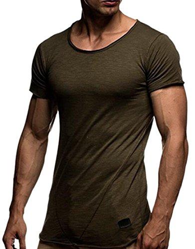 CCK-UK-DE Mens T-Shirts Casual Solid Color Crew Neck Short Sleeve Basic Tee Shirts Green XL