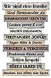 Spetebo Plankenschild mit Familienregeln - 51x33 cm - Holz Wand Deko Schild Holzschild Türschild