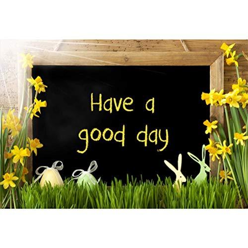 EdCott Haben Sie einen Guten Tag Kulissen 7X5ft Ostern Tag Hintergrund Tafel Narzisse niedliche Ostereier Hase grünes Gras Sonnenschein Kinder Erwachsene Porträts Gemeinschaft Aktivität Banner