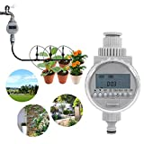 Eurobuy Watering Timer,Solar Power Automatic Irrigation Watering Timer Programmable LCD Display Hose Timers