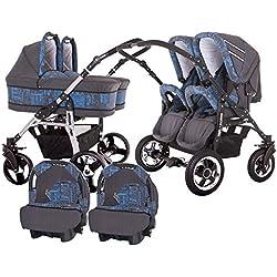 Carro gemelar 3 piezas. Capazos+sillas+grupo 0+sacos polares+accesorios. gris + azul