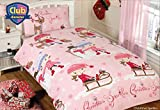 Girls Pink Christmas Sparkles Single Duvet, Quilt Cover Bedding Bed Set