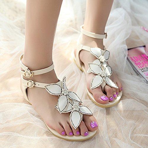 TAOFFEN Femmes Mode Clip Toe Open Back Sandales T-strap Plat Sangle De Cheville Chaussures 775 Blanc