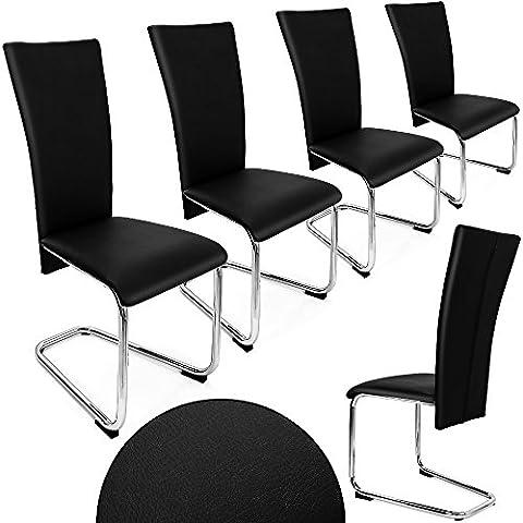 4er SET Freischwinger Esszimmerstuhl schwarz - Stühle Sitzgruppe Esszimmer Stuhl