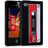kwmobile Hülle TPU Silikon Case für Apple iPhone 4 / 4S mit Kassette Design - Handy Cover Schutzhülle in Rot Weiß Schwarz