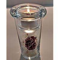 Dekoglas mit Teelichthalter für Ihre Gartenparty, Grillabend, Fussballparty - als Geschenk fertig verpackt -