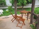 Vamundo Garten Balkon Hängetisch 2 Stühle Eukalyptus FSC-Holz, geölt