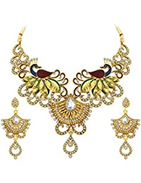 Sukkhi Magnificent Peacock Gold Plated AD Necklace Set For Women