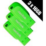Sandisk X 3x 16Go Vert–Vert électrique lecteurs Flash USB Cruzer Blade (lot de 3)