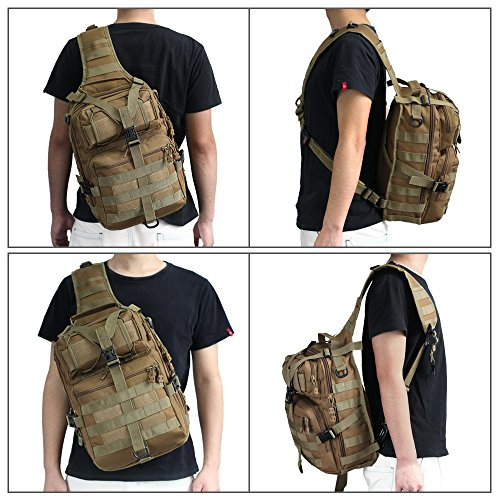 Borsa a tracolla tattica, borsa a tracolla militare MOLLE Borsa in pelle nylon con zaino impermeabile per campeggio, ciclismo, viaggi, escursioni (Tan) Tan