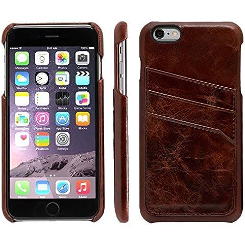 atKITE - Funda de piel auténtica para iPhone 6 Plus / 6S Plus - Funda trasera tipo cartera - Café