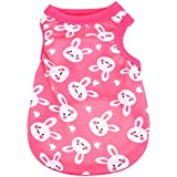 Rrimin Small Cute Vest Puppy Dog Cat Clothes Pet Shirt for Summer (S, Rabbit Rose Red)