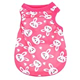 #4: Rrimin Small Cute Vest Puppy Dog Cat Clothes Pet Shirt for Summer (XS, Rabbit Rose Red)