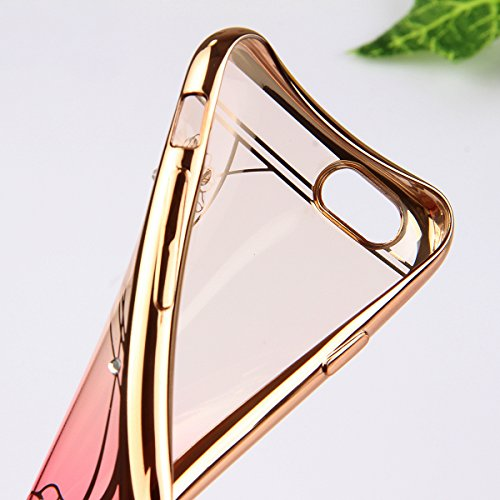 iPhone 6S Plus Hülle, iPhone 6 Plus Hülle, iPhone 6S Plus Silikon Hülle Rose Gold Tasche Handyhülle [Kratzfeste, Scratch-Resistant], iPhone 6 Plus TPU Gel Bumper Case Weiches Transparent Silikon Schut Red Lotus