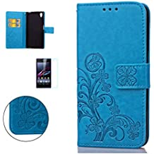 CaseHome Sony Xperia Z2 Wallet Funda,En Relieve Carcasa PU Leather Cuero Suave Impresión Cover Con Flip Case TPU Gel Silicona,Cierre Magnético,Función De Soporte,Billetera Con Tapa Libro Tarjetas Para Estilo Del Libro Estuche Del Protector Para Sony Xperia Z2-Azul