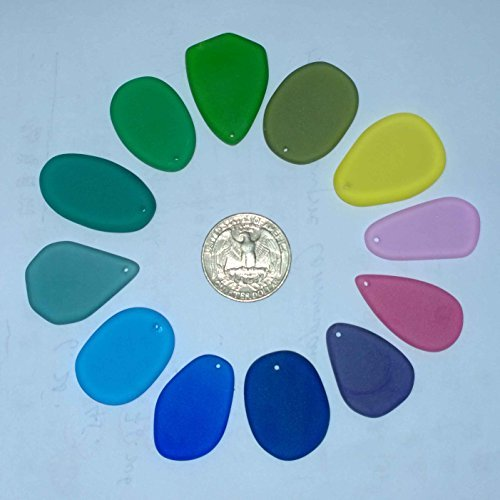 Sea Glass Beads Handmade Cultured 12 MUTICOLORS for Jewelry Necklace Pendant Bracelet Craft by JCT ECO ()