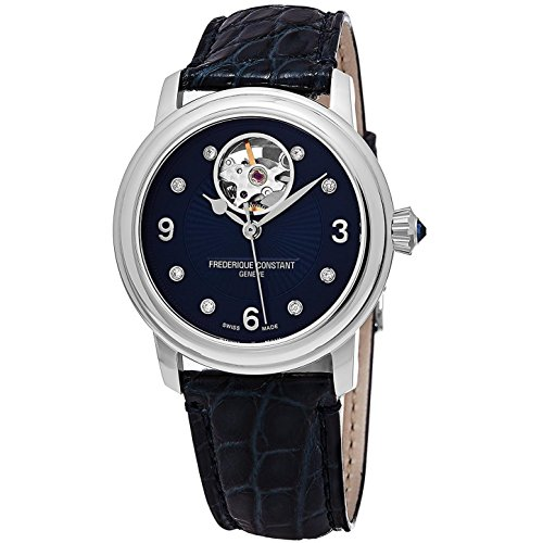Frederique Constant Women's 34mm Blue Genuine Leather Band Steel Case Automatic Watch FC-310HBAND2P6