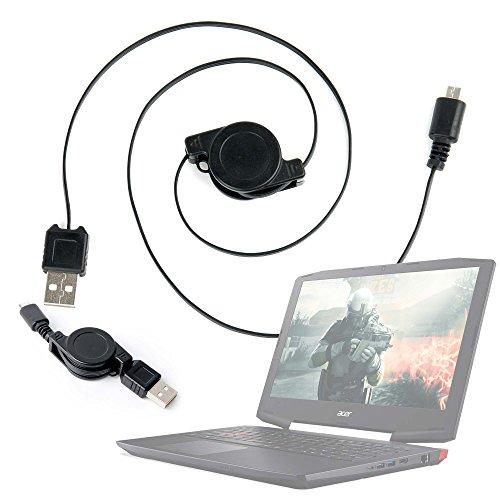 DURAGADGET Cable MicroUSB Retráctil para Portátil Acer Aspire E5-523G-958X, Acer Aspire ES1-533-C3PZ / Primux Ioxbook Tour 1101, Primux Ioxbook Tour 1102F Pasar Sus Datos Al PC