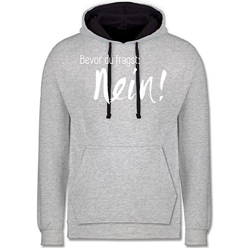Statement Shirts - Bevor du fragst: Nein - Kontrast Hoodie Grau meliert/Dunkelblau