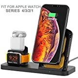 AUDON 3 in 1 Stand Holder Dock Charger for Apple Watch, Charging Station for AirPods, Fast Wireless Charger for iPhone X/XS Max/XR/8 Plus/8 and iWatch Series 4/3/2/1 (Black)