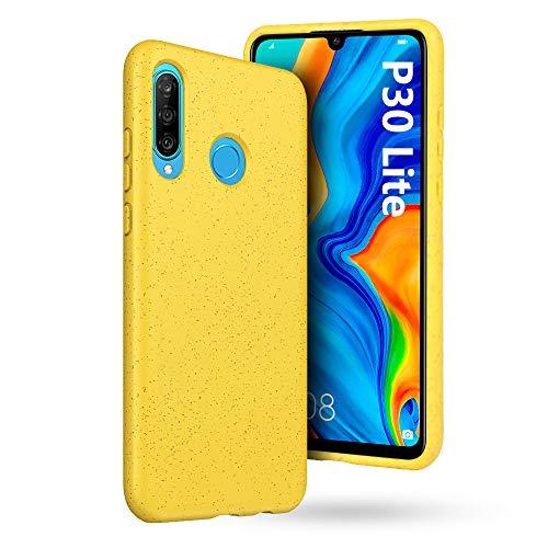 GeeRic Für Huawei P30 Lite Hülle Handyhülle Umweltschutz Weizenstroh Bumper Case Robust Schutzhülle TPU Cover für Huawei P30 Lite Gelb Robustes Hard Case
