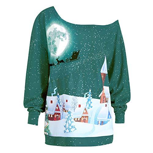 Felicove Damen Kleid,Weihnachtsdruck Sweatshirt Pullover Top Bluse Shirt Abendkleid Maxi Kleid...
