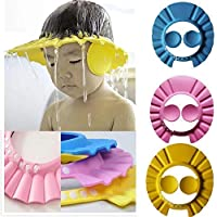Brighthal Adjustable Safe Soft Bathing Baby Shower Hair Wash Cap for Children Baby Bath Cap Shower Protection for Eyes…