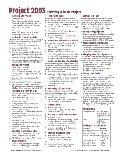 Microsoft Project 2003 Creating a Basic Project Quick Reference Guide (Cheat Sheet of Instructions, Tips & Shortcuts - Laminated Card)