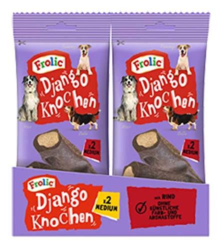 Frolic Hundesnacks Hundeleckerli Django Medium Knochen für mittelgroße Hunde 10-25kg mit Rind, 24 Stück (12 x 2 Stück) - Hunde Knochen Hund Für Mittelgroße
