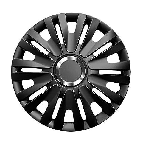 15 Zoll Radzierblenden DELTA (Schwarz). Radkappen mit Chromring passend für fast alle VW Volkswagen wie z.B. Golf 5