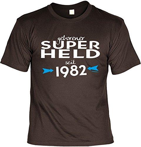T-Shirt geborener Super Held seit 1982 T-Shirt zum 35. Geburtstag Geschenk zum 35 Geburtstag 35 Jahre Geburtstagsgeschenk 35-jähriger Braun