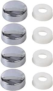 Beler Silber Kennzeichen Schraube Kappe Abdeckung Für Nummernschild Rahmen Verschluss 4er Set Auto