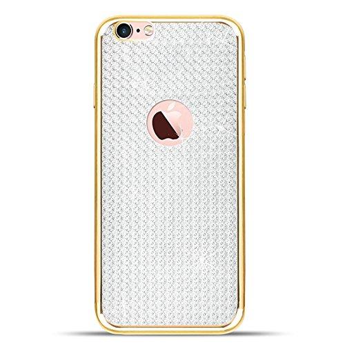 Bling Bling iPhone 6 Plus / 6S Plus Hülle Glitzer Case, Backcover Rückschale aus Silikon Farbe: Rosé Gold Diamond Gold