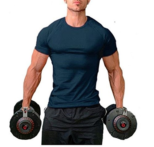 Hippolo Männer Pure Cotton Fitness T-Shirt Muskel Body Shirt Kurzarm (L, Marine) -