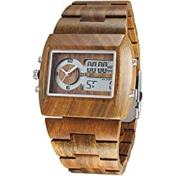 Alienwork Analogue-Digital Watch natural solid wood LCD Wristwatch Multi-function Multi Time Zones Green sandalwood green green UM021A-01
