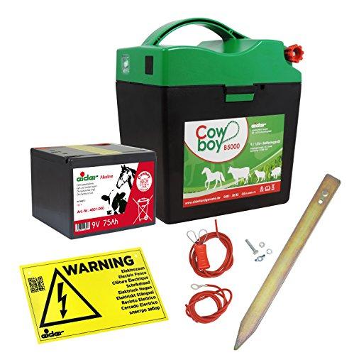 *Weidezaungerät Eider Cowboy B5000 ( 9V / 12 V ) – Extra Power durch integrierte Alkaline Batterie – für maximale Hütesicherheit*