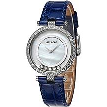 Reloj de cuarzo de la señora Correa de cuero Diseño simple del dial del diamante Puntero ultra fino , elegant / lotus blue