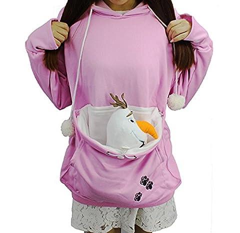 Damen Känguru Pullover Hemd,halte deine Damen Baumwolle Katzenohren Hoodie Langarm