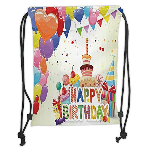Trsdshorts Drawstring Backpacks Bags,Birthday Decorations,Heart Shaped Funny Balloons Cupcakes Candies Presents and Party Hats,Multicolor Soft Satin,5 Liter Capacity,Adjustable String Closure